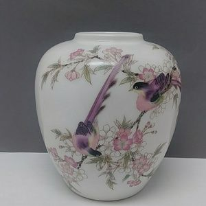 Yamaji Japan pink cherry blossom & birds vase